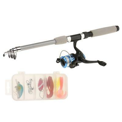 Portable Fishing Rod with Fishing Reels Lines Bag and Box Fishing Set Silver