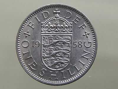 1958 English Shilling - Nice High Grade Coin, FREE POSTAGE (J141)
