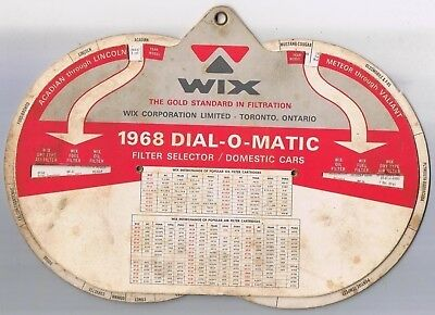 "Wix 1968 Dial O Matic Filter Selector Domestic & Imported Cars 7"" x 10"""