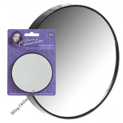 MAGNIFYING MIRROR 15x MAGNIFICATION EYEBROW TWEEZING CLOSE UP EYE MAKEUP TRAVEL