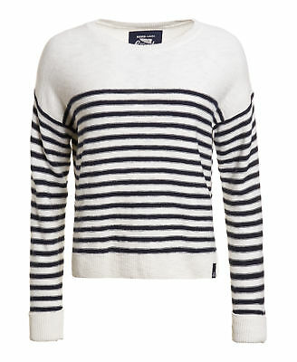 New Womens Superdry Factory Second Breton Icarus Knit Jumper White
