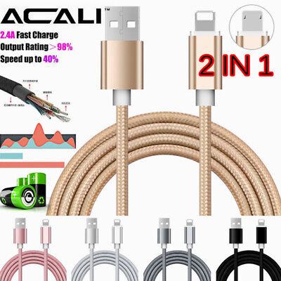 ACALI 3FT 2 in1 Micro USB Sync Data Fast Charging Adapter Cable For IOS/Android