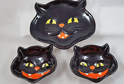 BLACK CAT Party Set Ceramic Dish and 2 Bowls Halloween Decor New vintage-style