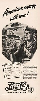 1942 Pepsi Cola Soda Track Tank Manufacturing Plant Art WWII American Energy Ad