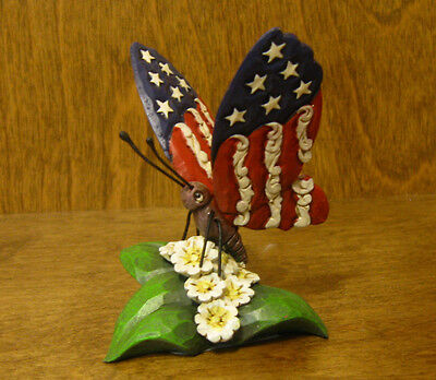 Jim Shore Heartwood Creek Minis #4051415 BUTTERFLY, PATRIOTIC, From Retail Store