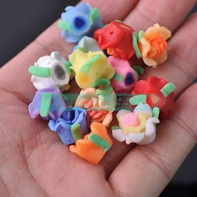 50pcs 15~17mm Big Flower Polymer Clay Loose Spacer Fimo Beads Random Mixed