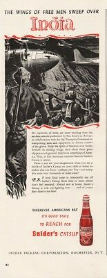 1942 Sniders Catsup Pan Am Air Transport Command Over India WWII Winslow Art Ad