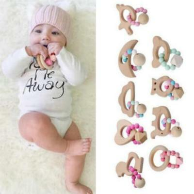 Baby Wooden Teething Rings Necklace Bracelet DIY Crafts Natural Toys Gifts LC