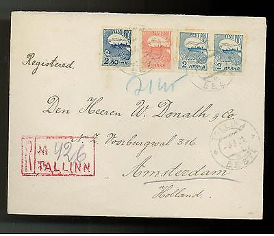1921 Estonia Registered Cover to Holland Wax Seal