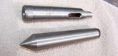 21612 morse taper 1-2 adapter & 2mt dead center - unused came with atlas lathe