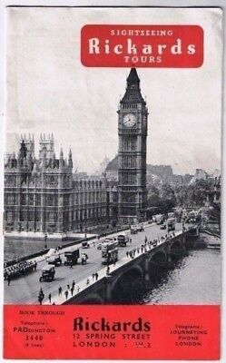 London England Richards Sightseeing Tours Brochure Catalog 16 pages Pictures Ads