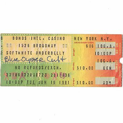SOFT WHITE UNDERBELLY Concert Ticket Stub NYC BONDS 6/16/81 BLUE OYSTER CULT