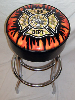 Fire Department Ladder Flames Bar Stool Stools