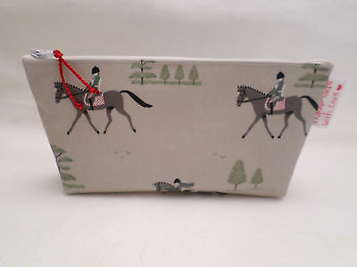 Handmade Oilcloth Make Up Bag Case - Sophie Allport Horses Oilcloth