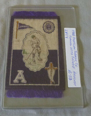 1908 American Tobacco Co. B-33 Amherst Hockey Premium Flannel With Fringe