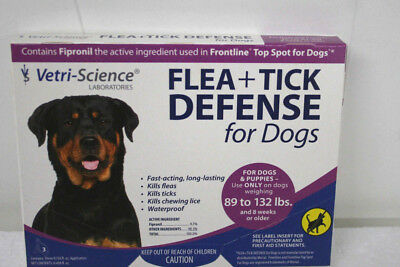 Vetri Science Flea and Tick Defense for Dogs 89 - 132 LBS GENERIC FRONTLINE 3 Ct