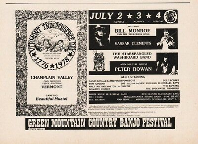 1978 Green Mountain Country Banjo Fest Essex VT Bill Monroe Bluegrass Print Ad