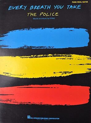 The Police Every Breath You Take Sting Vtg Sheet Music 1983 Guitar Piano Vocal