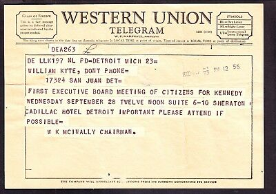 US 1960 Western Union Telegram about 'Citizens for Kennedy' Meeting