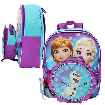 """Disney Frozen Anna Elsa Olaf Girls School 12"""" Backpack with Attached Lunch Bag"""