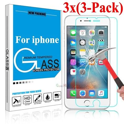 3-Pack For iPhone X 5 6 / 7 / 8 Plus Tempered GLASS Screen Protector Bubble Free
