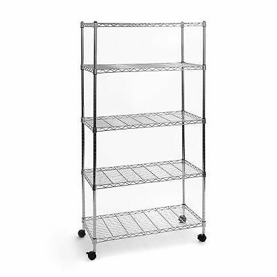"65x36x14"" Commercial 5 Tier Shelf Adjustable Wire Metal Shelving Rack w/Rolling"