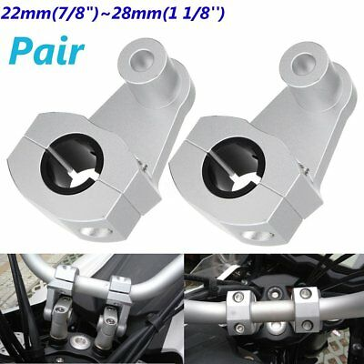 "2PCS 7/8"" 22-28mm Motorcycle Handlebar Riser Clamp Aluminum Handle Mount Bracket"