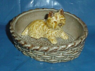Highly Collectable Wade Cairn Terrier In A Basket