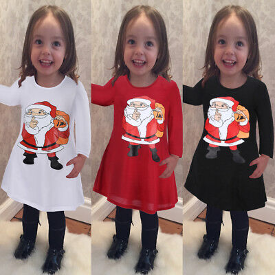 3-8 Year Kids Girls Christmas Novelty Santa Claus Long Sleeve T Shirt Mini Dress