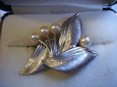 Vintage Mikimoto Sterling Silver Four Cultured Seawater Pearls And Three Leaves