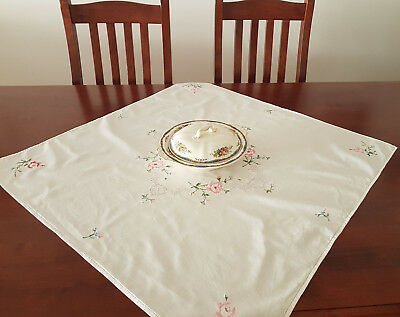 Floral Embroidered Table Cloth, Vintage,  Perfect For Display, In V Good Cond