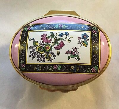 """HALCYON DAYS Enamel Box """"Victorian Flowers"""" Pink Hinged V & A Museum in Red Box"""