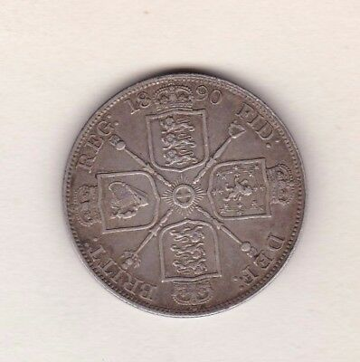 1890 Victorian Silver Double Florin In Good Very Fine Condition