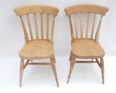Oak Rustic Country Dining Chair x 2 For Displaying Dolls / Bears Etc - 30cm Tall