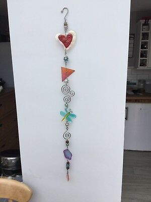Coloured Art Glass 3ft Hanging Decoration Heart & Butterfly