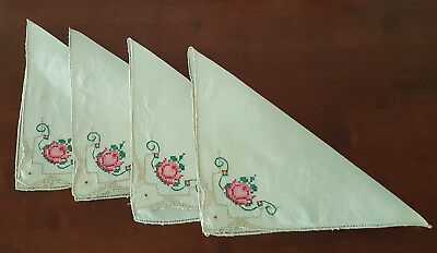 VINTAGE NAPKINS LINEN x 4 ~  EMBROIDERED DETAIL 1950's ~ COUNTRY, SHABBY CHIC