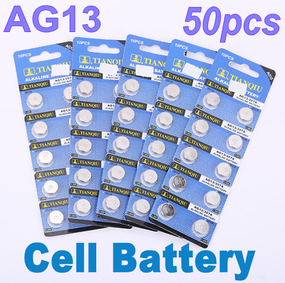50Pcs For Camera Watch Ag13 Lr44 Sr44 L1154 357 A76 Alkaline Button Cell Battery