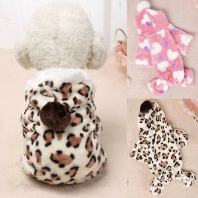 Warm Winter Pet Small Dog Puppy Clothes Hoodie Jumpsuit Pajamas Outwear Calm