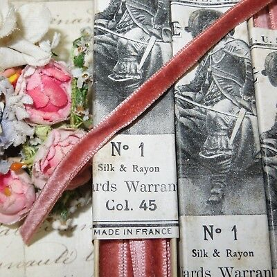 "1y 1/4"" FRENCH PINK ROSE VELVET SILK RIBBON HAT TRIM ANTQ VTG DOLL DRESS JACQURD"