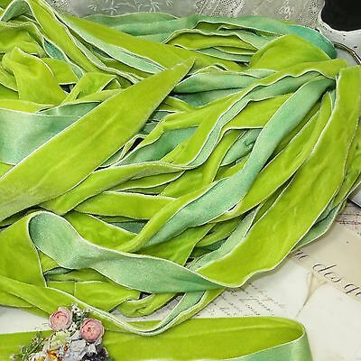 1y 1//2 ANTIQUE FRENCH METAL TRIM APPLE CHARTREUSE LIME RIBBON HAT WORK FLOWER