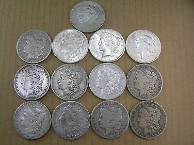 Morgan and Peace Dollars Lot of 15 Different Dates 1881 to 1935