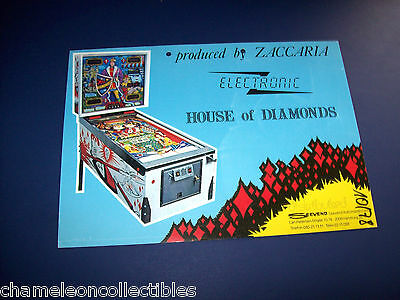 HOUSE OF DIAMONDS By ZACCARIA 1978 ORIGINAL PINBALL MACHINE SALES FLYER BROCHURE