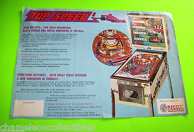TOP SPEED By RECEL 1975 ORIGINAL RARE PINBALL MACHINE PROMO SALES FLYER