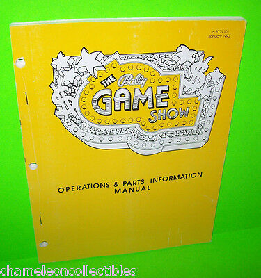 THE GAME SHOW By BALLY 1990 ORIGINAL PINBALL MACHINE SERVICE MANUAL w SCHEMATICS