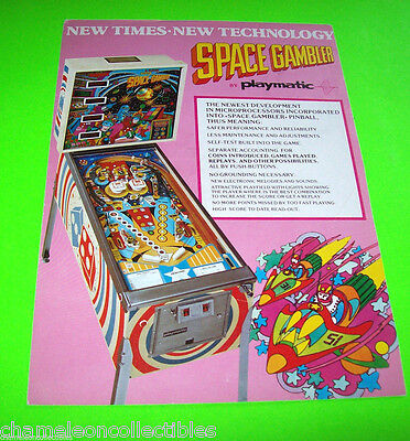 SPACE GAMBLER By PLAYMATIC 1978 ORIGINAL PINBALL MACHINE PROMO SALES FLYER