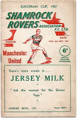 1957/58 Shamrock Rovers V Manchester United European Cup In Good Condition