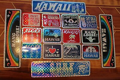 HANG LOOSE RANBOW STATE Hawaii 80's Surfing Tiki 3x4in. Prism STICKER -LOT OF 16