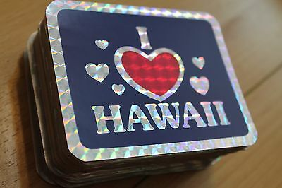 I LOVE (Heart) HAWAII - Surfing vintage 1980's 3x4in. Prism Sticker - LOT OF 100