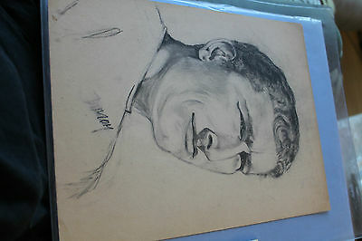 Vintage Surfing MIKE DOYLE 1965 Hand-Drawn Portrait 9x12in. ORIG.  by Mama Doyle