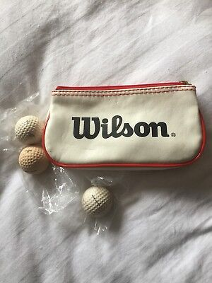 3 Vintage Dunlop 65 Golf Balls Snow Grinder With Wilson Bag